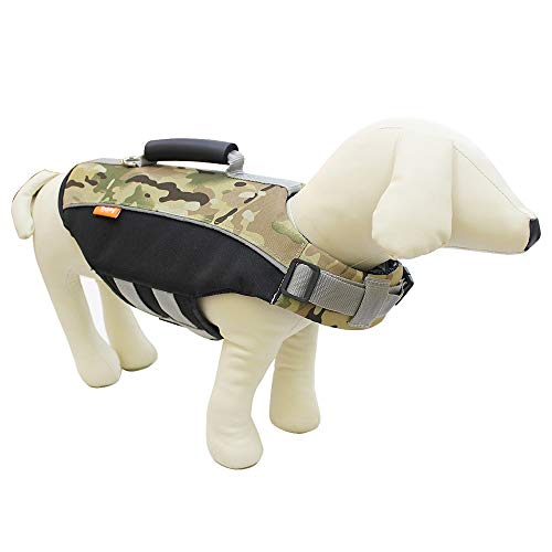 YHDD Camo Pet Schwimmweste Jacke Camouflage Dog Schwimmweste mit verstellbaren Schnallen Hund Sicherheits Schwimmweste zum Schwimmen Bootfahren Jagd (Farbe : Green, größe : L)