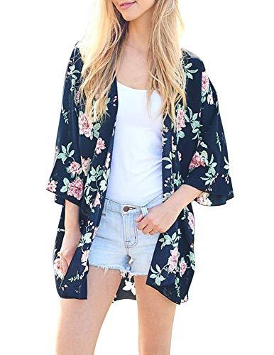 Damen Sheer Chiffon-Cardigan Halbe Hülse abdecken Blumen Kimono, Marineblau, S -