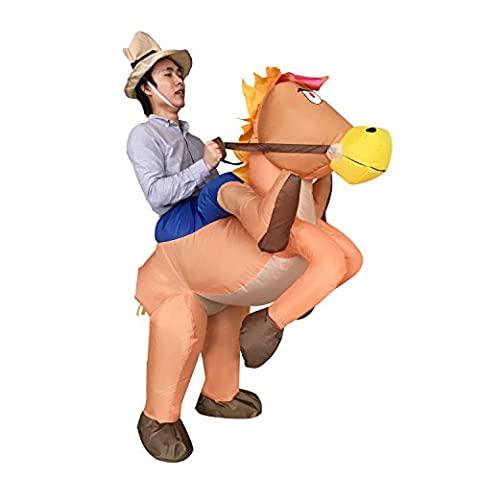 Halloween Adult Inflatable Cowboy Cowgirl Ride Horse Fancy Party Dress Costume