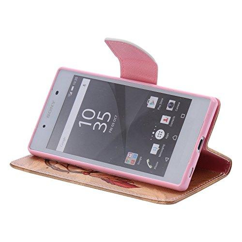 Ooboom® Sony Xperia Z5 Coque PU Cuir Flip Housse Étui Cover Case Wallet Portefeuille Fonction Support avec Porte-cartes pour Sony Xperia Z5 - Don't Touch My iPhone Attrapeur de Rêves Marron