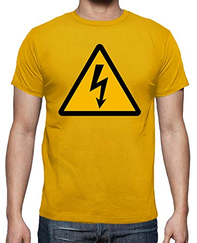 tostadora - T-Shirt Gefahr Strom - Manner Goldgelb M