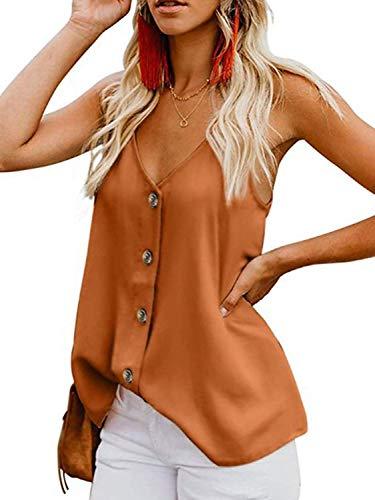 Spaghetti-top T-shirt (ZJCTUO Damen Tops Sommer V-Ausschnitt Sexy Casual Spaghetti Ärmellose Tanktops Oberteile Blusen Shirts)