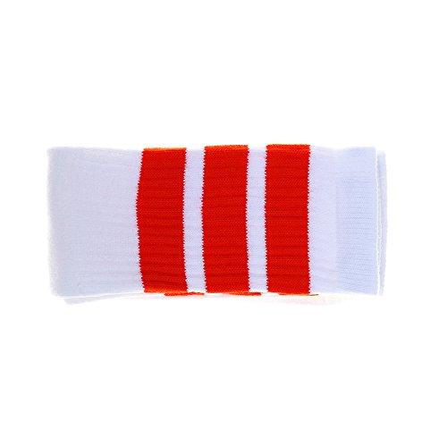 Choobes (Unisex 25 Zoll Knie High White Tube Socken mit Orange ()