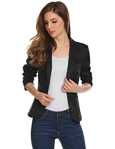 Damen Klassischer Blazer Tailliert mit Reverskragen Kurze Jacke Kurzblazer Kurzjacke Business Blazer Schwarz 38