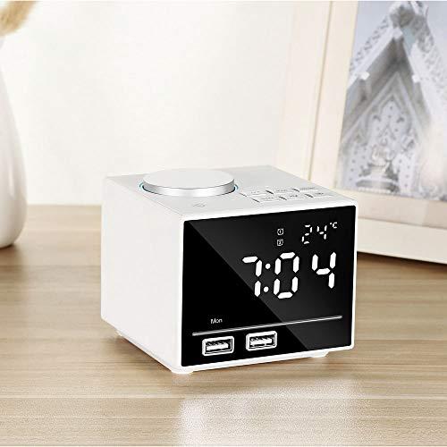 XJYA Digital Radio Reloj Despertador Inalámbrico Bluetooth Altavoz para Dormitorios/Oficina con FM...