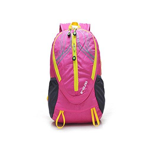 Wewod Multi-Tasche Mode im Freien Sporttasche Reiserucksack Falten Rosa