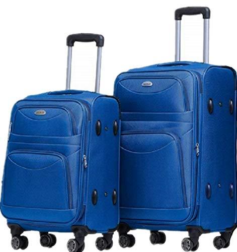 TOP-Trolley-Koffer-Set - 2-teilig - 63+53cm, Dehnfalte, 4 Doppelrollen, TSA-Schloss. (Blau)