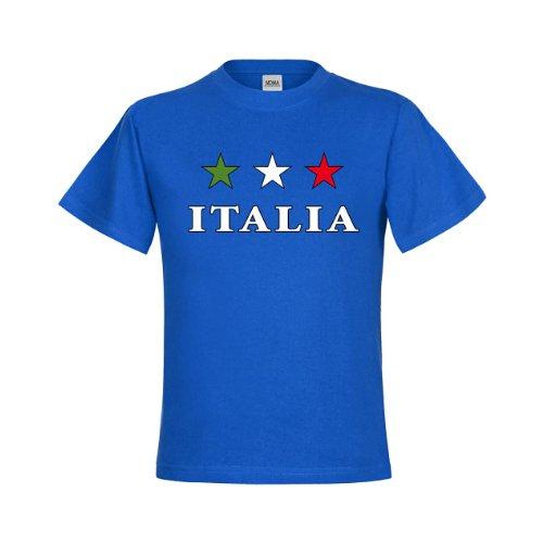 MDMA Kinder T-Shirt Sternfahne Italien mit Italia darunter mdma-kt00022-10 Textil royalblue/Motiv farbig Gr. 152/164