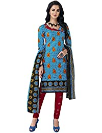 HRINKAR Women's Cotton Salwar Suit Dupatta Dress Material (HRKT1643_Yellow And Pink_Free Size)