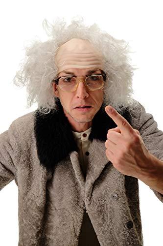 WIG ME UP - 3893-202-8 Perücke Halbglatze Herren Karneval Halloween Alter Opa Verrückter Professor Wissenschaftler Einstein Kauz grau (Halloween Grau Haar-perücken)