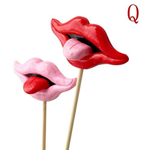 2Photo Booth Requisiten für Hochzeit/Party Polymer Clay Lippen mit Zähne auf einem Stick Q
