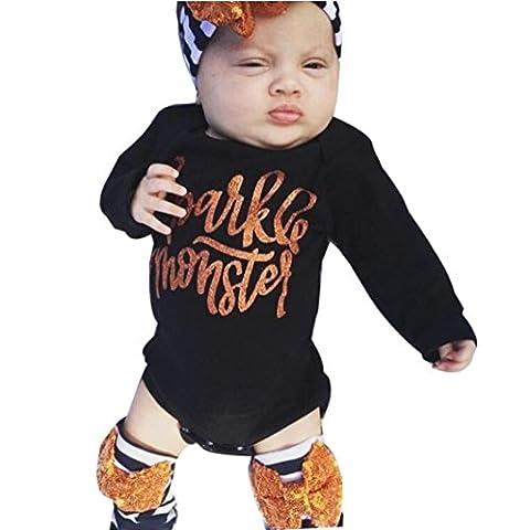 yanhoo Neugeborene Infant Baby Mädchen Buchstabe Strampler Tops + Beinwärmer Halloween Outfits Set 60 (Little Trees Kostüm)