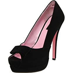 Pleaser Women s Bella-10 BSUEPU Peep-Toe Pump Black Sueded Polyurethane 9 B(M) US