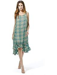 GWCSS Vestido De La Correa De La Gasa De Círculo Impreso Retro Xl , Green , Xl