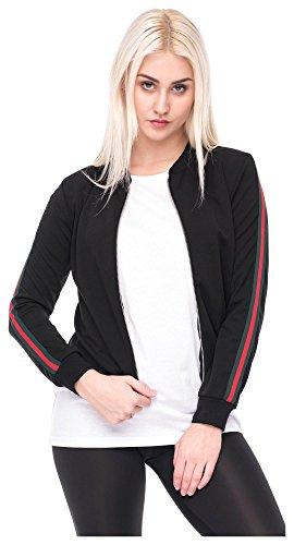 Damen Jacke Sweatjacke Bomberjacke dünne Jacke Stripes Style M/L