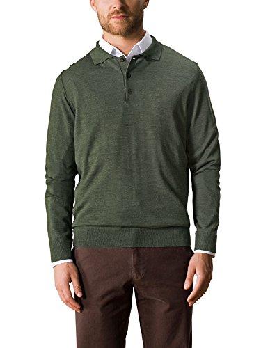 Merino-polo-pullover (Walbusch Herren Merino-Mix Polo-Pullover einfarbig Khaki 56)