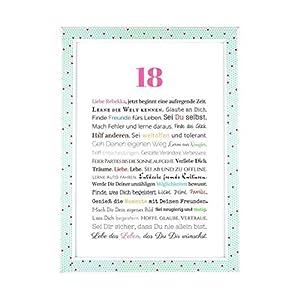 18. Geburtstag – Geschenkidee zur Volljährigkeit – Personalisiertes Bild mit Rahmen – Geburtstagsgeschenk für Mädchen/Frauen oder Beigabe zum Geldgeschenk, Kunstdruck, DIN A4