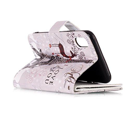inShang Custodia per iPhone X 5.8 inch con design integrato Portafoglio, iPhoneX 5.8inch case cover con funzione di supporto. + inShang Logo pennino di alta classe Deer and tower