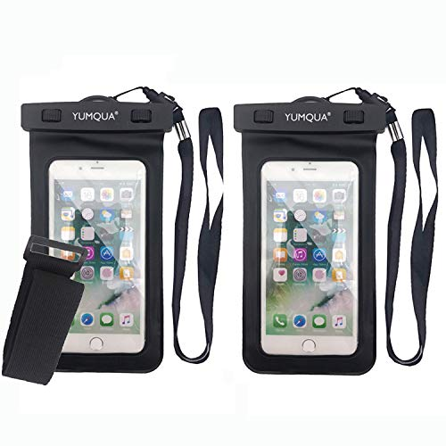 YUMQUA Wasserdichte Handy Hülle universal Tasche Wasser-, Staub-, schmutz-, schneegeschützte Case für Handy bis zu 6 Zoll z.B. iPhone X 8 7 6S Plus,Galaxy S9 S8 A3 A5,Huawei,Sony,Moto, Nokia-2 Stück