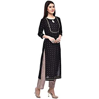 GULMOHAR JAIPUR Women's Cotton Printed Kurta Pant Set (Black)