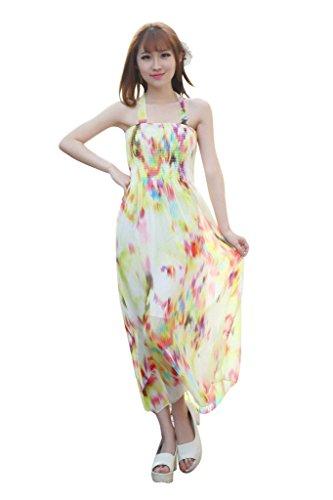 BOMOVO Damen Sommer Ohne Arm Slim Lang Chiffon Celebrity Party Strandkleid Maxi Kleid Gelb