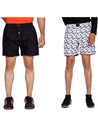 Flamboyant Men's Yellow Dot Print Cotton Shorts Men's White & Blue Printed Cotton Shorts (Set Of 2)
