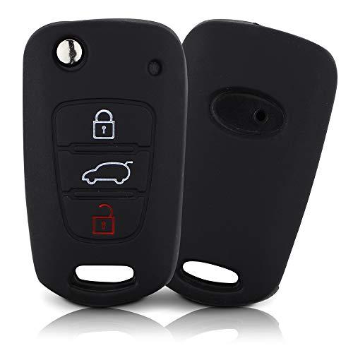 Tapa de la Llave Hecha de Silicona Premium Compatible con Hyundai, Funda Protectora para Llaves de Coche Cubierta para el Tipo de Clave 3BKB - Negro