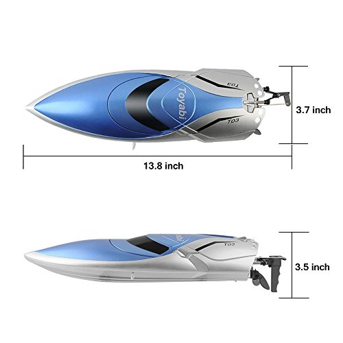 RC Boot High Speed Boot 2,4 GHz 20MPH mit Kapsel Standard Funktion Fernbedienung Spielzeug für Jungen mit Extra Batterie (Blau Weiss) - 3