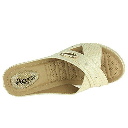 Femmes Dames Point de pression Doux Flexible Massage Été Poids léger Glisser sur Talon compensé Des sandales Chaussures Taille Beige