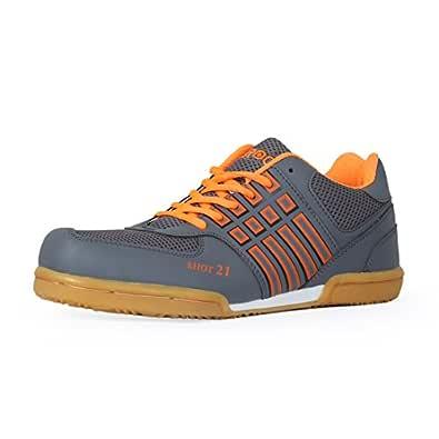 Feroc Men's Grey and Orange PU Non Marking Badminton Shoes (2)