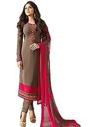 Stylish Fashion Dark Beige Embroidered Women's Crepe Straight Salwar Suit