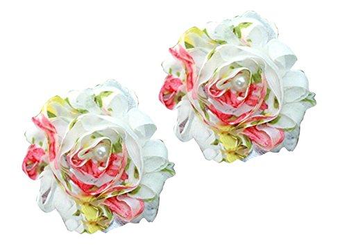 PinkXenia White Shabby Rose Flower Pearl chiffon lace kids prewalker Barefoot Sandals shoes