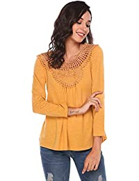 790ea691c020fc Finejo Damen Elegant Langarmshirt mit Rüschen Blusen V-Ausschnitt T-Shirt  Casual Loose Fit