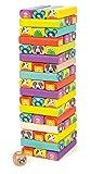 small foot 11973 Torre traballante Zoo colorato, 52 tessere con divertenti facce e motivi di animali