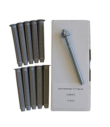 Preisvergleich Produktbild Sanremo SET 16 - 10x Ankerstange M10 x 130mm verzinkt + 10x Siebhülse 15x100mm - Verbundmörtel Injektionsmörtel Montagemörtel