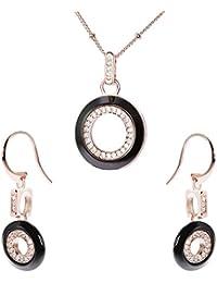 Stella Maris Damen Schmuckset - Halskette mit Anhänger und Ohrringe - Rosévergoldetes 925 Sterling Silber und Premium Keramik in Schwarz - Zirkoniasteine und Diamanten - 45 cm - STM15J031A32