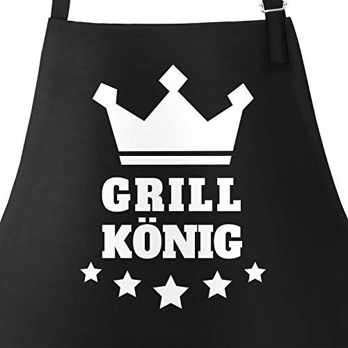 (MoonWorks Grill-Schürze für Männer Grill-König Krone Sterne Schwarz Unisize)