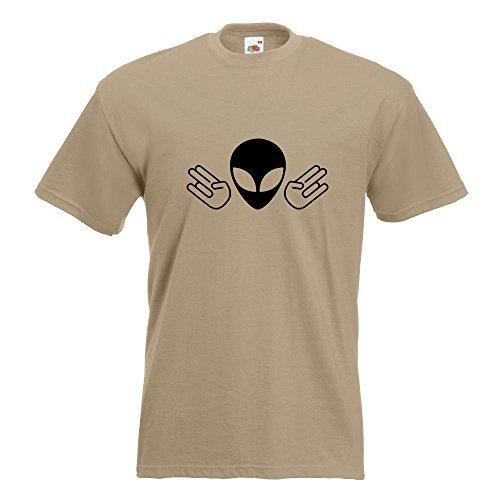 KIWISTAR - Alien Doppel Shocker T-Shirt in 15 verschiedenen Farben - Herren Funshirt bedruckt Design Sprüche Spruch Motive Oberteil Baumwolle Print Größe S M L XL XXL Khaki