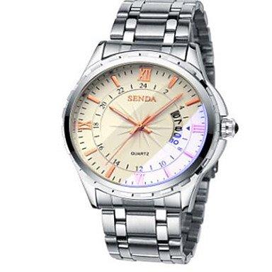 XKC-watches Herrenuhren, Modeuhr Quartz Legierung Band Bequem Silber (Farbe : Gelb)