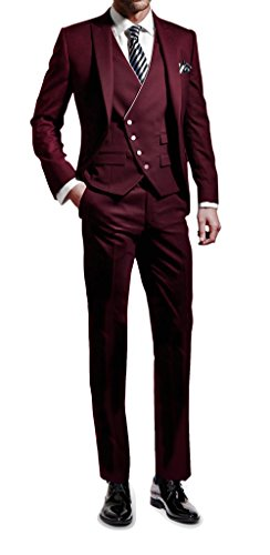 Suit Me 3 pieza delgado del partido bodas Fit Tuxedo Blazer, chaleco, pantalones para Hombres rojo 4XL...