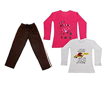 Indistar Girls 2 Cotton Full Sleeves Printed T-Shirt and 1 Cotton Lower (Pack of 3)_Brown::Red::white_Size: 6-7 Year