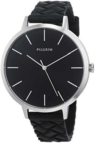 Pilgrim Damen Armbanduhr, Analog, Quartz, silber + schwarz Silikon Aster 701816119