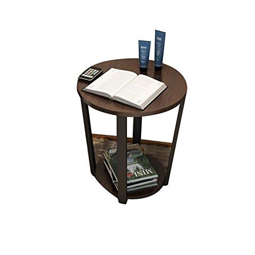 CTGAB laptoptisch- Moderne Sofa-Seitenschränke, um Schmiedeeisen Glas Kleinen Runden Tisch zu diskutieren (Farbe : Black Walnut) - Glas-modernen-sofa-tisch