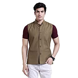 Vandnam Mens Poly Cotton Brown Color Nehru Jacket ( khakhi )
