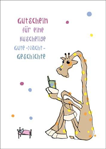Süßer Gutschein für eine kuschelige Gute-Nacht-Geschichte mit Giraffe auch zum direkt Versenden mit ihrem persönlichen Text als Einleger.