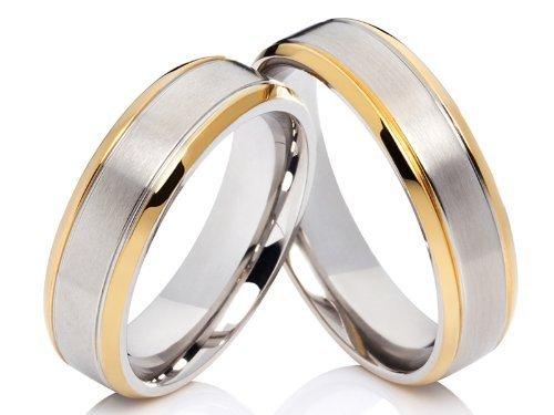 2 Edle Trauringe, Eheringe, Verlobungsringe, Freundschaftsringe aus Edelstahl mit gratis Gravur