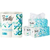 Amazon Brand - Presto! 2 Ply Kitchen Tissue/Towel Paper Roll - 4 Rolls (60 Pulls Per Roll) & Amazon Brand - Presto! 2 Ply Facial Tissue Soft Poly Pack - 200 Pulls (Pack of 3) Combo