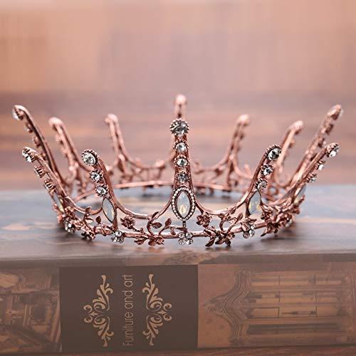OCEUGS Weinlese-barocke runde Kronen-Brauthochzeits-Haar-Zusätze Kristallrhinestone-großes Haar-Schmucksache-Hochzeits-Festzug-König Queen Tiara (König & Queen Kostüm)
