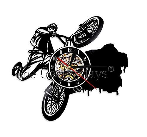 HHYXIN Schallplatte Wanduhr Reiten Extreme Radfahren Wanduhr Fahrrad Schallplatte Wanduhr Dirt Bike Track Racing Wohnkultur Stunt Fahrradfahrer Geschenk,12 Zoll (Cool Dirt Bike Kunststoff)