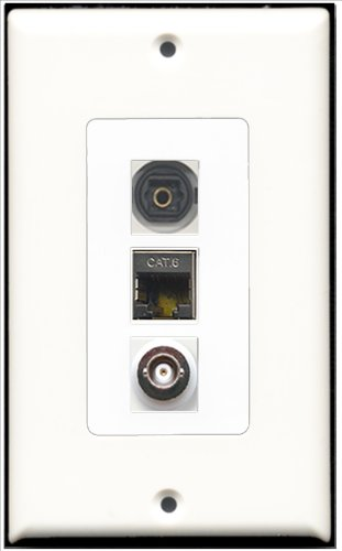 RiteAV–1Port geschirmt, Cat. 6Ethernet und 1Port Toslink und BNC 1Port Decora Wall Plate Decora